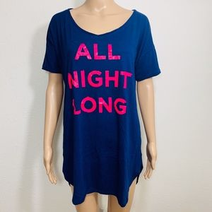 EUC Victoria's Secret Graphic Sleep Shirt XS Blue